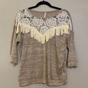 Tan & Cream Top with Lace & Fringe Size M